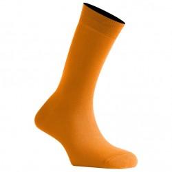Mi-Chaussettes Orange Mixtes En Coton Couleur De Fabrication Française