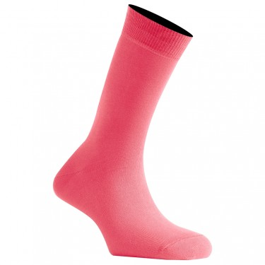 Mi-Chaussettes Rose Malabar Mixtes En Coton Couleur Made In France