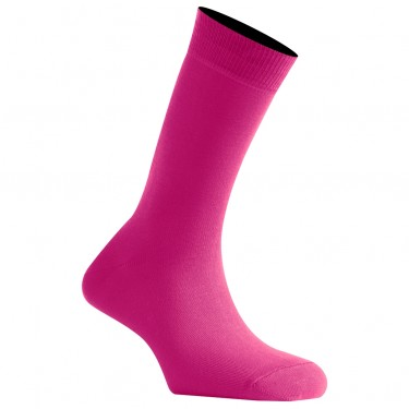 Mi-Chaussettes Rose Fuchsia Mixtes En Coton Couleur Made In France