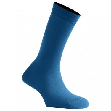 Mi-Chaussettes Bleu Denim Mixtes En Coton Couleur Fabriquées En France