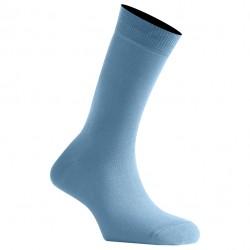 Mi-Chaussettes Bleu Ciel Mixtes En Coton Couleur Fabriquées En France