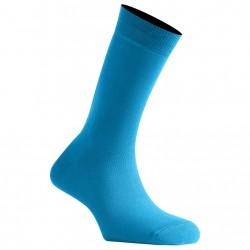 Mi-Chaussettes Bleu Turquoise Mixtes En Coton Couleur Made In France