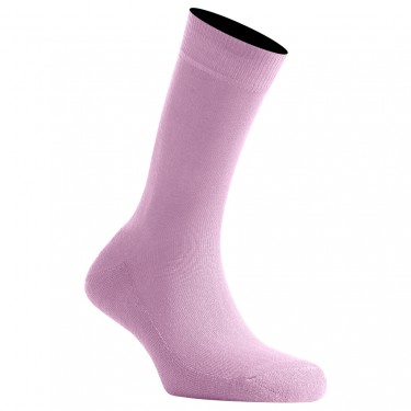 Mi-Chaussettes Rose Pâle Semelle Bouclette En Coton Made In France