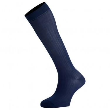 Mi-Bas Coton Fil D'Écosse Couleur Bleu Marine De Fabrication Française