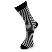 Mi-chaussette Coton Black & White Noire Rayures Blanches