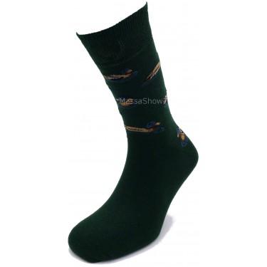 Mi-chaussette Coton Fantaisie Hunting Canard Vert Anglais