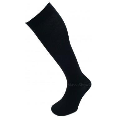Mi-bas Coton Compression Noir Sans Couture