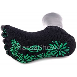 Mini-Socquettes Mitaines Yoga Namaste Noir Antidérapant Vert