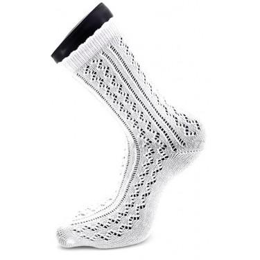Chaussettes Fantaisie Femme Maille Ajourée Blanc