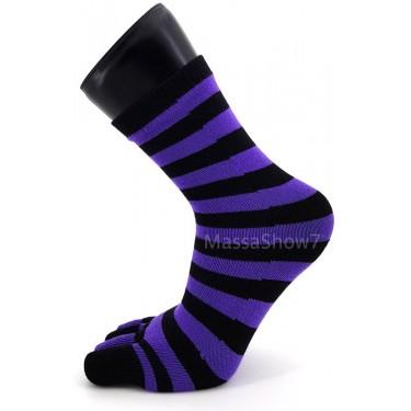 Chaussette A Doigts Couleurs Rayures Violettes Et Noires