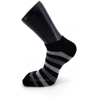 Mini Socquettes Coton Fantaisie Rayées Noir Et Gris