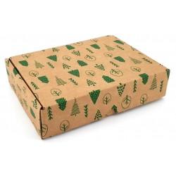 Boite carton couleur kraft motif arbre