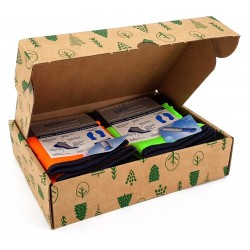Box de deux chaussettes de sport vert et orange fluo
