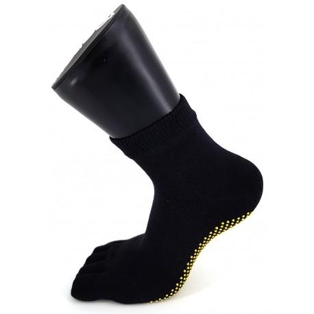 Chaussettes de Yoga Antidérapantes Semelle Jaune