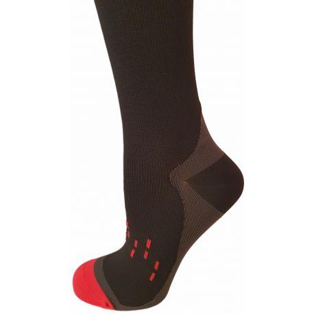 Mi-bas Compression Sport Noir et Rouge