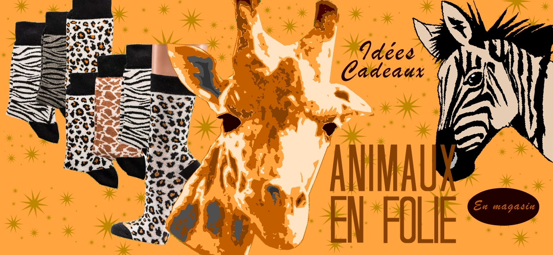chaussettes zèbre panthère et girafe